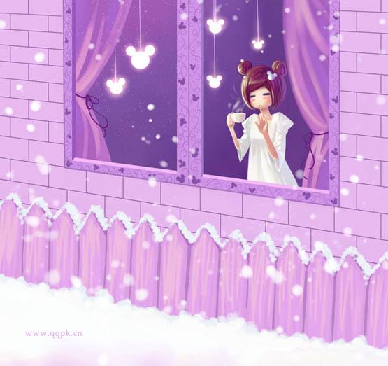 这款qq皮肤图片的主题:可爱女生专用浪漫紫色