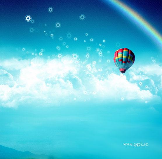 清新qq皮肤素材 蔚蓝色的天空与彩虹