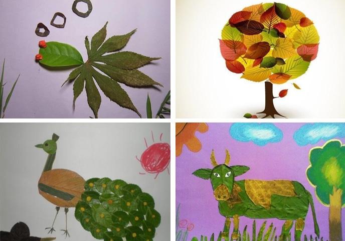 树叶粘贴画图片大全 附制作教程图片