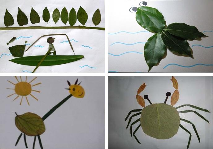 树叶粘贴画图片大全,如何制作鹿子树叶粘贴画_小制作图片